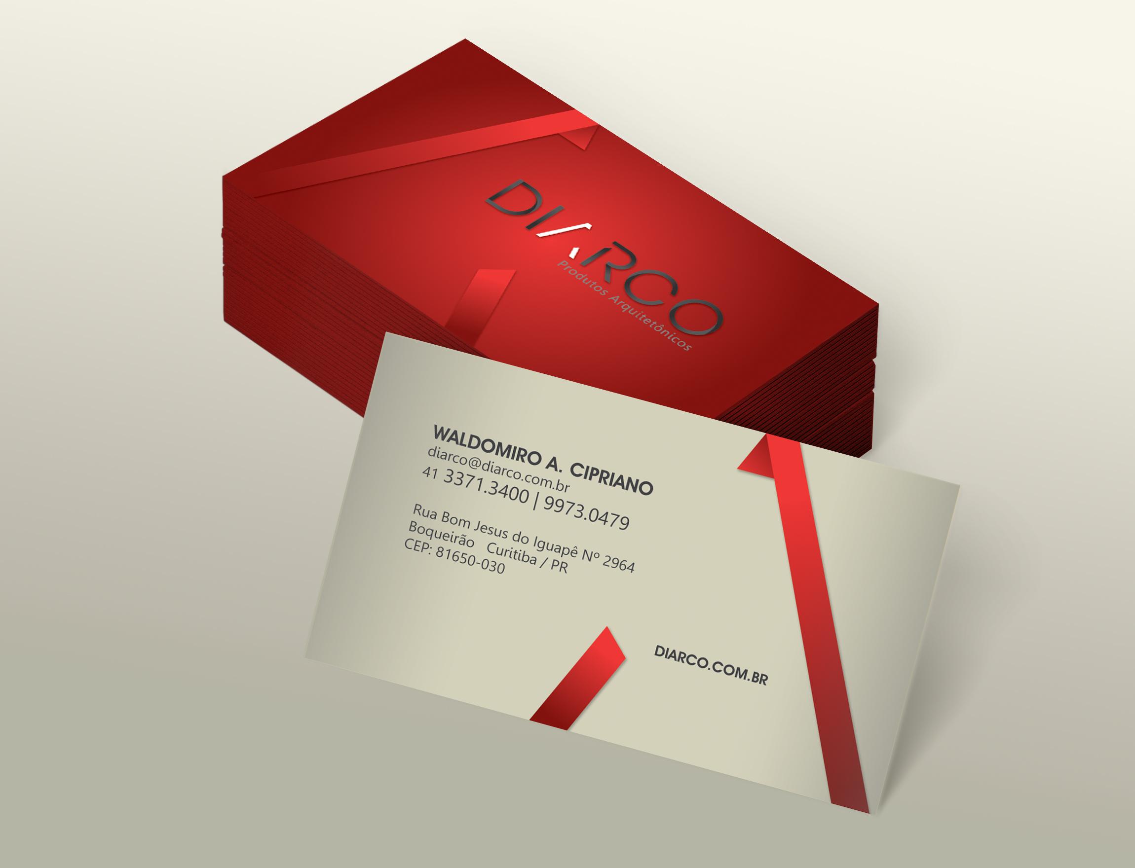 Cartão de Visita da Diarco desenvolvido pela ElevaBD