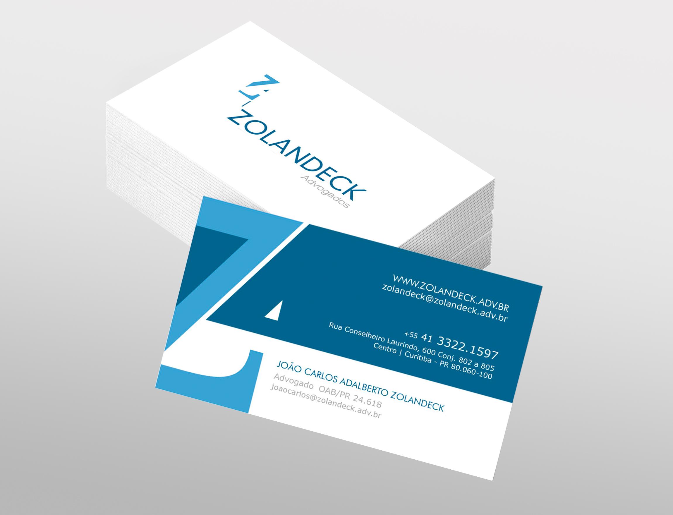 Cartão de Visita da Zolandeck desenvolvido pela ElevaBD